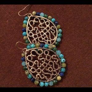 Ornate teardrop dangle earrings